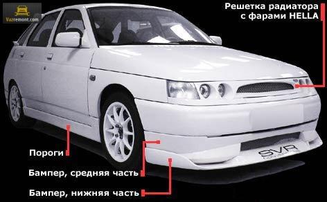 Тюнинг бампера ВАЗ 2110: накладки, обвесы, юбки