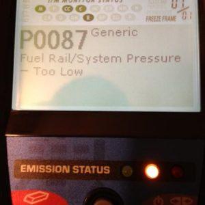 Ошибка P0087: падение давления в топливной магистрали