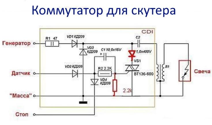 Коммутатор в системах скутера
